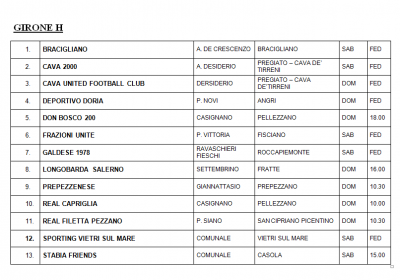 Girone H - seconda categoria Salerno